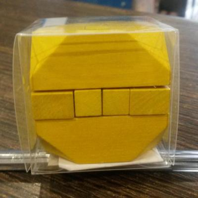Mini casse tête carré bois jaune 3cm
