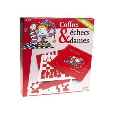 Coffret échecs et dames en bois