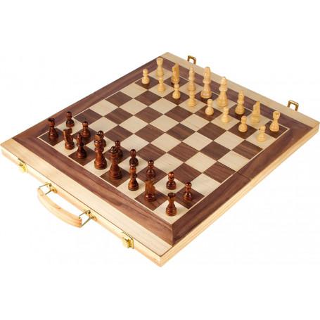 Coffret echec backgammon 50 x 44 cm en bois jeux pliable1