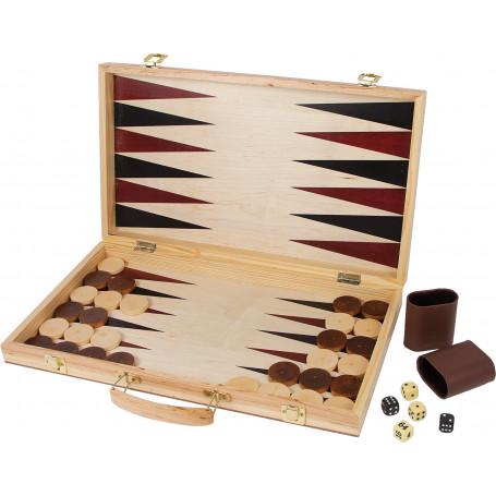 Coffret echec backgammon 50 x 44 cm en bois jeux pliable2