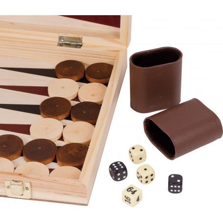 Coffret echec backgammon 50 x 44 cm en bois jeux pliable3