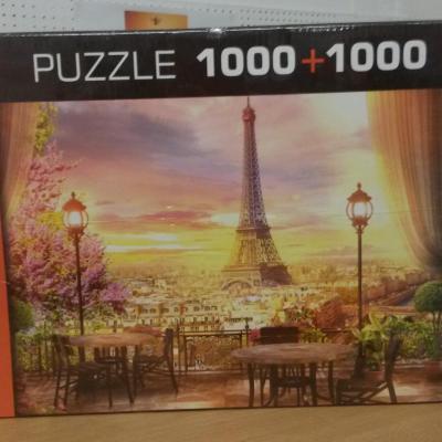 Puzzle 1000+1000 pièces coucher de soleil Paris et bateau